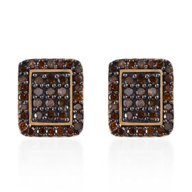Red Diamond (Rnd) Earrings (with Push Back) in Black and 14K Gold Overlay Sterling Silver 0.500 Ct.
