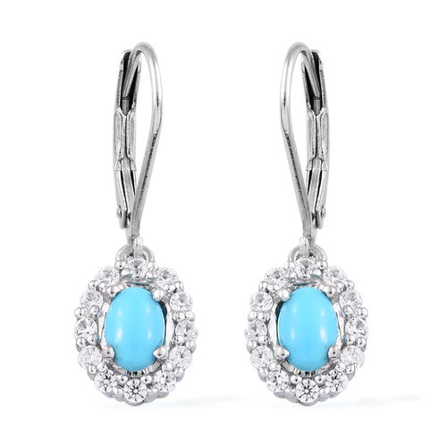 Arizona Sleeping Beauty Turquoise (Ovl 6x4 mm), Natural Cambodian Zircon Lever Back Earrings in Plat