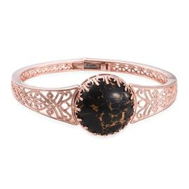Designer Inspired-Arizona Mojave Black Turquoise (Rnd) Bangle (Size 7.5) in Rose Gold Overlay Sterling Silver 30.000 Ct.Silver WT 28.00 Gms