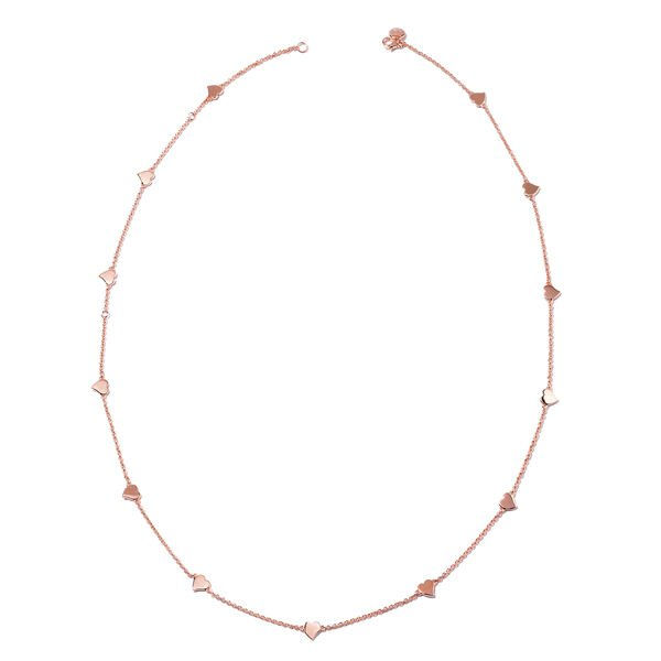 RACHEL GALLEY Heart Station Necklace in Rose Gold Plated Sterling Silver 26 Inch