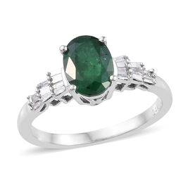 1.3 Ct AA Zambian Emerald and Diamond Ballerina Ring in 14K White Gold 2.6 Grams