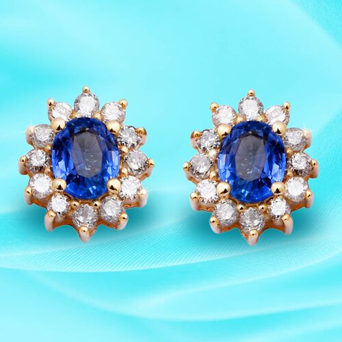 9K Yellow Gold Royal Ceylon Sapphire and Diamond (I3 /G-H) Stud Earrings (with Push Back) 1.26 Ct.