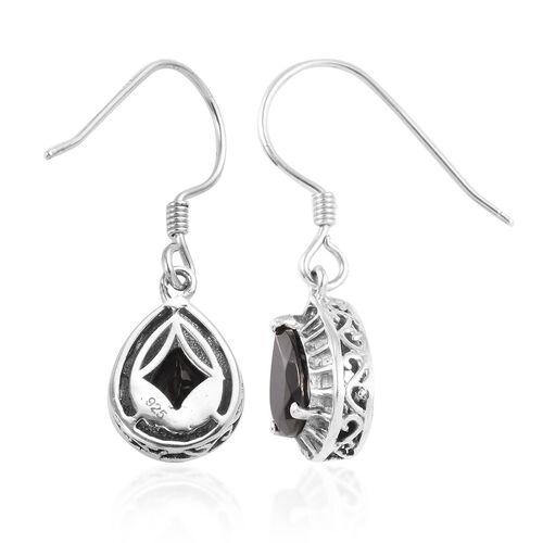 Elite Shungite (Pear) Drop Hook Earrings in Platinum Overlay Sterling Silver 1.75 Ct.