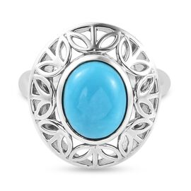 Sleeping Beauty Turquoise Solitaire Ring in Platinum Overlay Sterling Silver 2.25 ct,  Sliver Wt. 5.