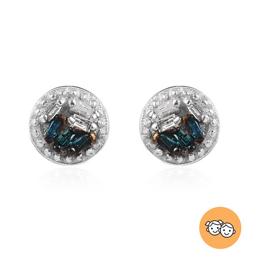 Blue and White Diamond Earrings for Girl in Sterling Silver
