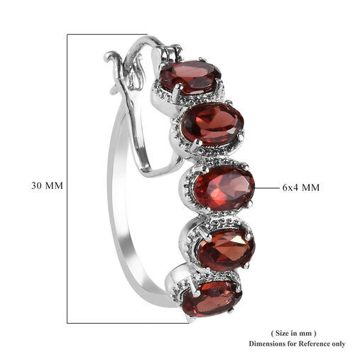 Mozambique Garnet Hoop Earrings (with Clasp) in Stainless Steel 4.00 Ct.