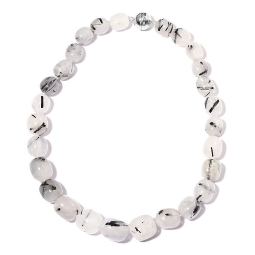 Very Rare Shape-Black Rutile Quartz Barrel Shape Necklace (Size 18) in Rhodium Overlay Sterling Silver with Magnetic Clasp 675.500 Ct