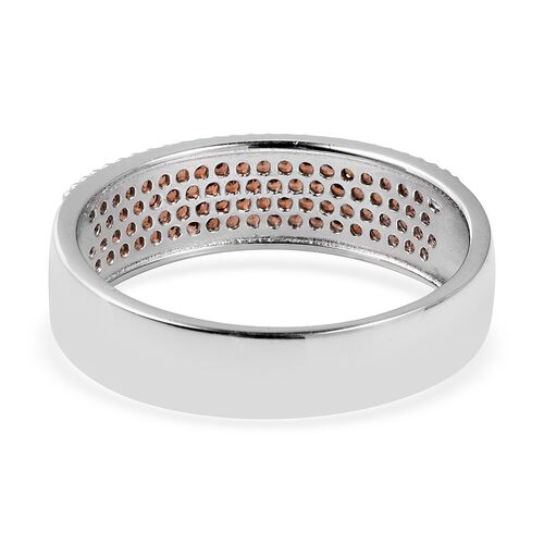 Micro Pave Set Mozambique Garnet (Rnd) Ring in Sterling Silver.