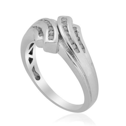 Diamond (Rnd) Ring in Platinum Overlay Sterling Silver 0.204 Ct.
