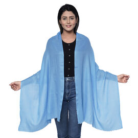 100% Cashmere Wool Light Blue Colour Scarf (Size 190x70 Cm)