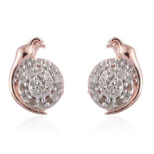 Diamond (Rnd) Bird Stud Earrings (with Push Back) in Rose Gold Overlay Sterling Silver 0.150 Ct.