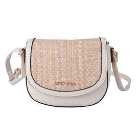 LOCK SOUL Weave Pattern Crossbody Bag with Shoulder Strap (Size 20x16x7Cm) - Beige