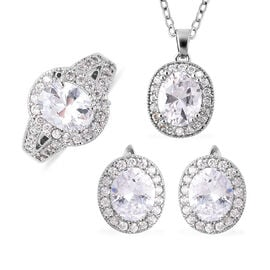 3 Piece Set- Simulated Diamond Ring, Earrings (with Clasp) and Pendant With Chain (Size 18 with 3 in