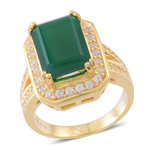 Verde Onyx (Oct 7.00 Ct), Natural White Cambodian Zircon Ring in 14K Gold Overlay Sterling Silver 8.250 Ct. Silver wt 7.50 Gms.