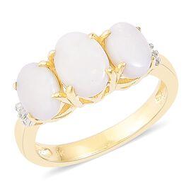 9K Yellow Gold AAA Very Rare Australian White Opal (Ovl), Diamond Ring 1.710 Ct.