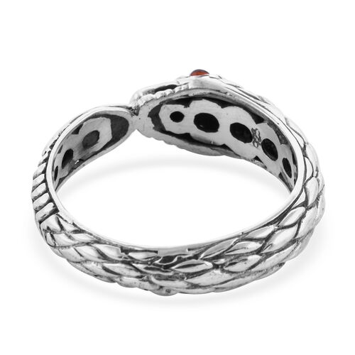 Royal Bali Collection Mozambique Garnet (Rnd) Snake Ring in Sterling Silver