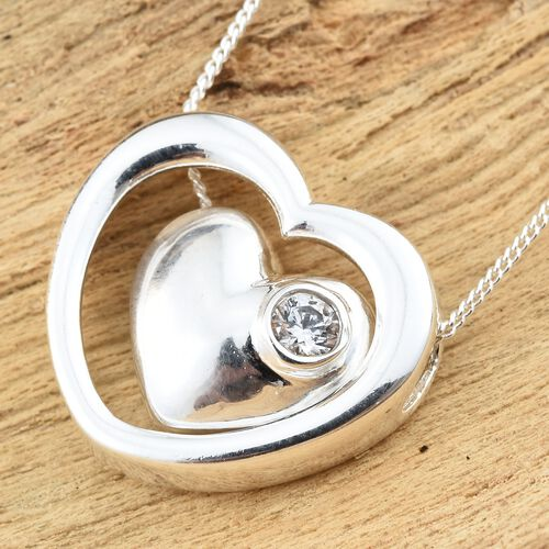 J Francis - Sterling Silver (Rnd) Heart Pendant with Chain Made with SWAROVSKI ZIRCONIA, Silver wt 3.61 Gms.