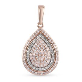 9K Rose Gold Pink and White Diamond Cluster Pendant 0.50 Ct.