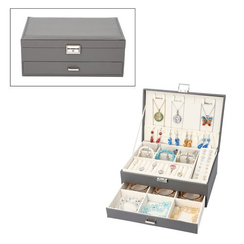 Two-Layer Grey Jewellery Box with Multiple Compartments and Lock & Key (Size 27x19x10.5cm)