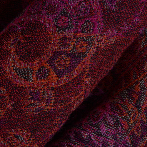 One Time Deal Designer Inspired 100% Merino Wool Brown and Multi Colour Paisley Pattern Scarf with Fringes (Size 180x70 Cm)