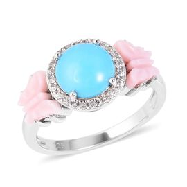 Arizona Sleeping Beauty Turquoise (Rnd 2.25 Ct), Pink Mother of Pearl, Natural White Cambodian Zirco