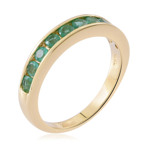 ILIANA 18K Yellow Gold AAA Kagem Zambian Emerald (Rnd) Half Eternity Band Ring 1.000 Ct. Gold Wt 4.76 Grams