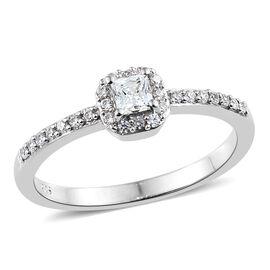 J Francis - Platinum Overlay Sterling Silver (Sqr) Ring Made with SWAROVSKI ZIRCONIA.