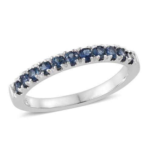 9K White Gold  AA  Royal Ceylon Sapphire (Rnd)  Band Ring