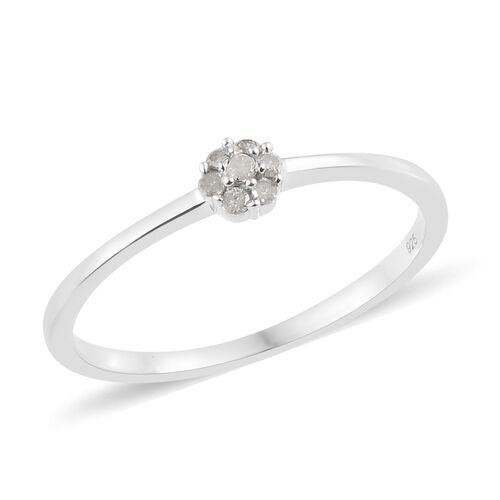 Diamond (Rnd) Flower Ring in Platinum Overlay Sterling Silver