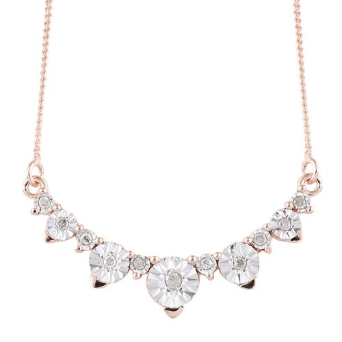 Diamond (Rnd) Necklace with Chain (Size 18 with 2 inch Extender) in Rose Gold and Silver Overlay Sterling Silver 0.100 Ct.