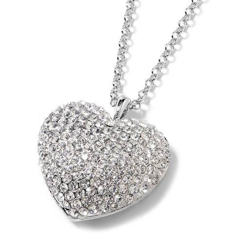 White Austrian Crystal (Rnd) Heart Necklace in Silver Tone