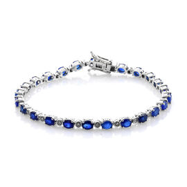9.25 Ct Blue Spinel and Diamond Tennis Bracelet in Platinum Plated Sterling Silver 10.71 Grams