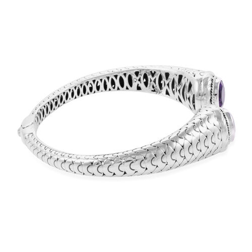 Bali Legacy Collection Amethyst (Rnd) Bangle (Size 7.5) in Sterling Silver 6.740 Ct, Silver wt 23.25 Gms.