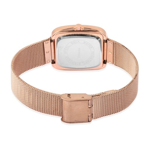 Designer Inspired-  STRADA Japanese Movement Double Sunshine Dial Water Resistant Watch in Rose Gold Tone with Mesh Chain Strap