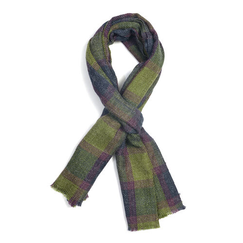 Purple and Green Colour Checks Scarf (Size 180x70 Cm)