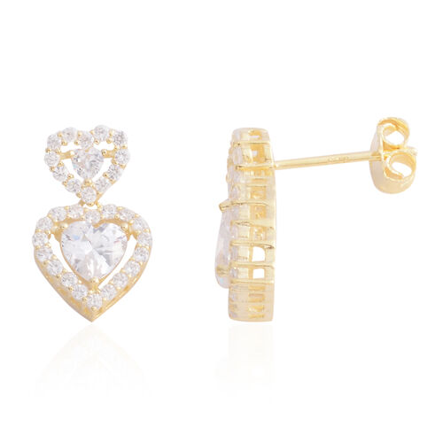 ELANZA Simulated Diamond (Rnd and Hrt) Dual Heart Cluster Earrings in Yellow Gold Overlay Sterling S