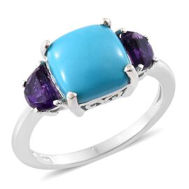 4.75 Ct Sleeping Beauty Turquoise and Moroccan Amethyst Classic Ring in Platinum Plated Silver