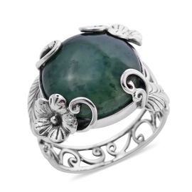 Royal Bali Collection - Chrysoprase Ring in Sterling Silver 12.63 Ct