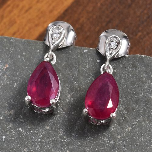 AA African Ruby (Pear 9x6 mm), Natural Cambodian Zircon Drop Dangle Earrings (with Push Back) in Platinum Overlay Sterling Silver 3.650 Ct.