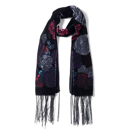 Designer Inspired- Black, Pink, Purple and Multi Colour Rose Flower Pattern Scarf (Size 160x50 Cm)