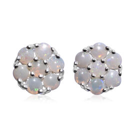 Close Out Deal- Natural Australian Opal (Rnd) Earrings (with Push Back) in Sterling Silver 1.000 Ct.