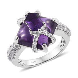 8 Carat Amethyst and Zircon Geometric Design Ring in Platinum Plated Sterling Silver