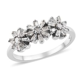 Diamond (Rnd and Bgt) Floral Ring in Platinum Overlay Sterling Silver 0.33 Ct.
