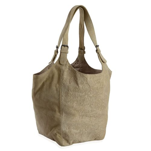 Genuine Leather Flowers and Leaves Embossed Beige Colour Tote Bag (Size 47x33 Cm)