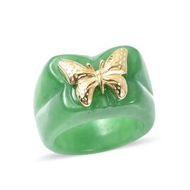 Carved Green Jade Butterfly Ring in Yellow Gold Overlay Sterling Silver 48.50 Ct.