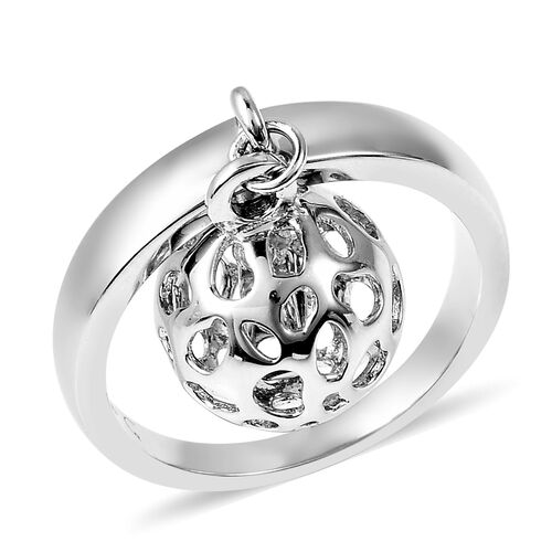 RACHEL GALLEY Russian Diopside Lattice Globe Ring in Rhodium Plated Sterling Silver