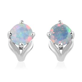 Ethiopian Opal (0.50 Ct) Platinum Overlay Sterling Silver Earring  0.500  Ct.