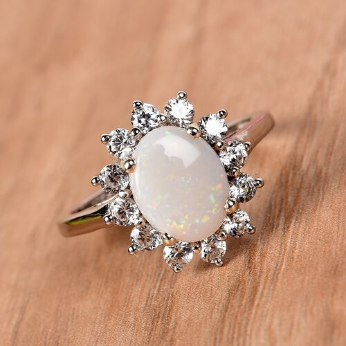 AA Natural Australian Opal and Natural Cambodian Zircon Ring in Platinum Overlay Sterling Silver 1.75 Ct.