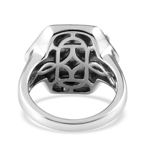 Platinum and Yellow Gold Overlay Sterling Silver Honeycomb Bee Ring, Silver wt. 5.94 Gms