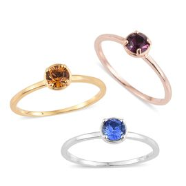 J Francis Crystal from Swarovski Topaz Colour Crystal (Rnd), Amethyst Colour Crystal and Sapphire Colour Crystal Solitaire Ring in Platinum, 14K Gold and Rose Gold Overlay Sterling Silver